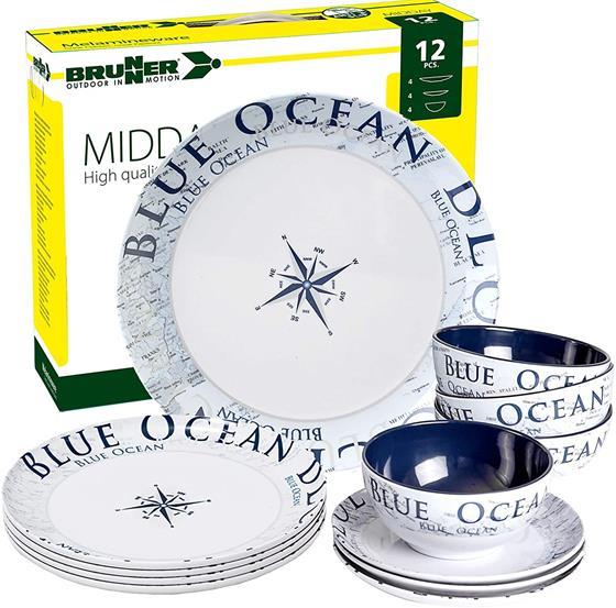 ZESTAW OBIADOWY 12SZT BRUNNER BLUE OCEAN MIDDAY